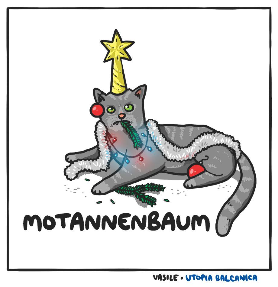 Pisică împodobită cu globuri, beteală, o stea în cap şi o crenguţă în bot. Motannenbaum.