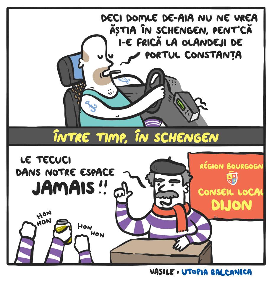 """Taximetrist: """"Deci domle de-aia nu ne vrea ăştia în schengen, pent'că i-e frică la olandeji de portul Constanţa!"""" - Între timp, în Schengen - francez supărat la pupitrul Conseil Local Dijon: """"Le Tecuci dans notre espace JAMAIS!!!"""""""